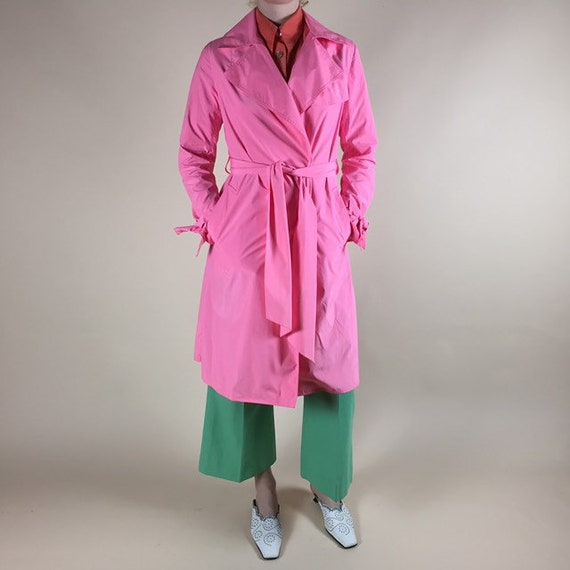 Hot pink trench coat by Ramosport, Paris.