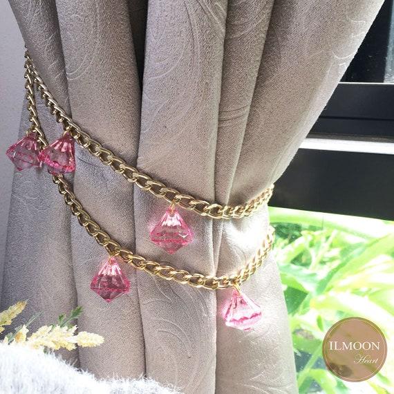 1 Pair / Pink Gold Nursery Curtain Tie Backs / 2 Tiebacks