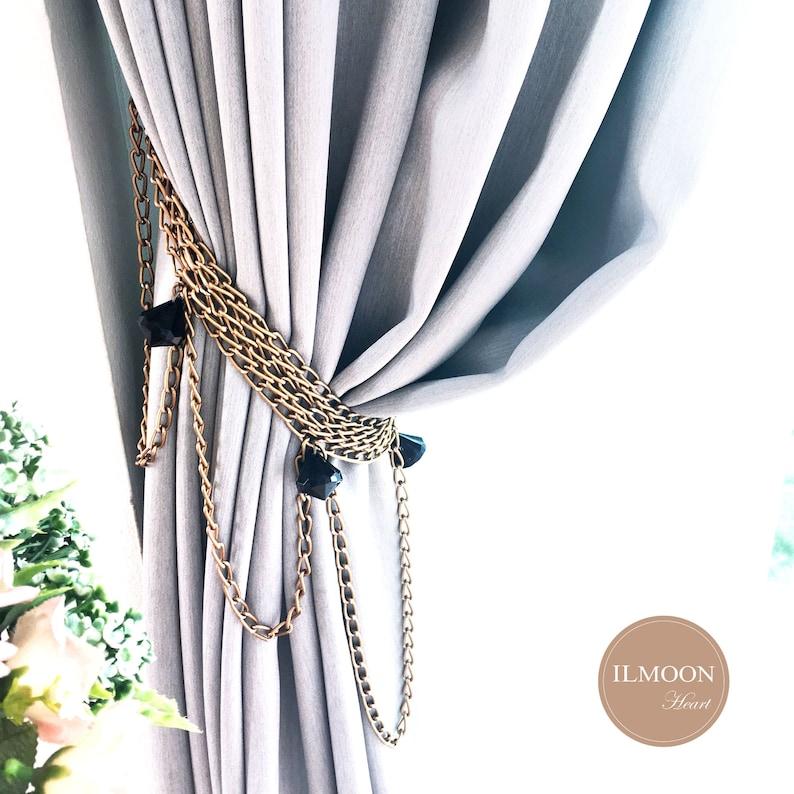 Pairx2 Black And Gold Decor Curtain Tie Back Decorative Etsy