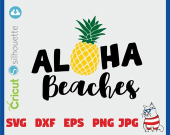 Aloha Beaches SVG - dxf - eps - png - jpg file, PNG, Studio.3, DIY, Personal and Commercial Use, Pineapple