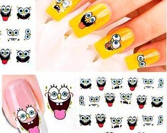 Spongebob Nail Art Etsy