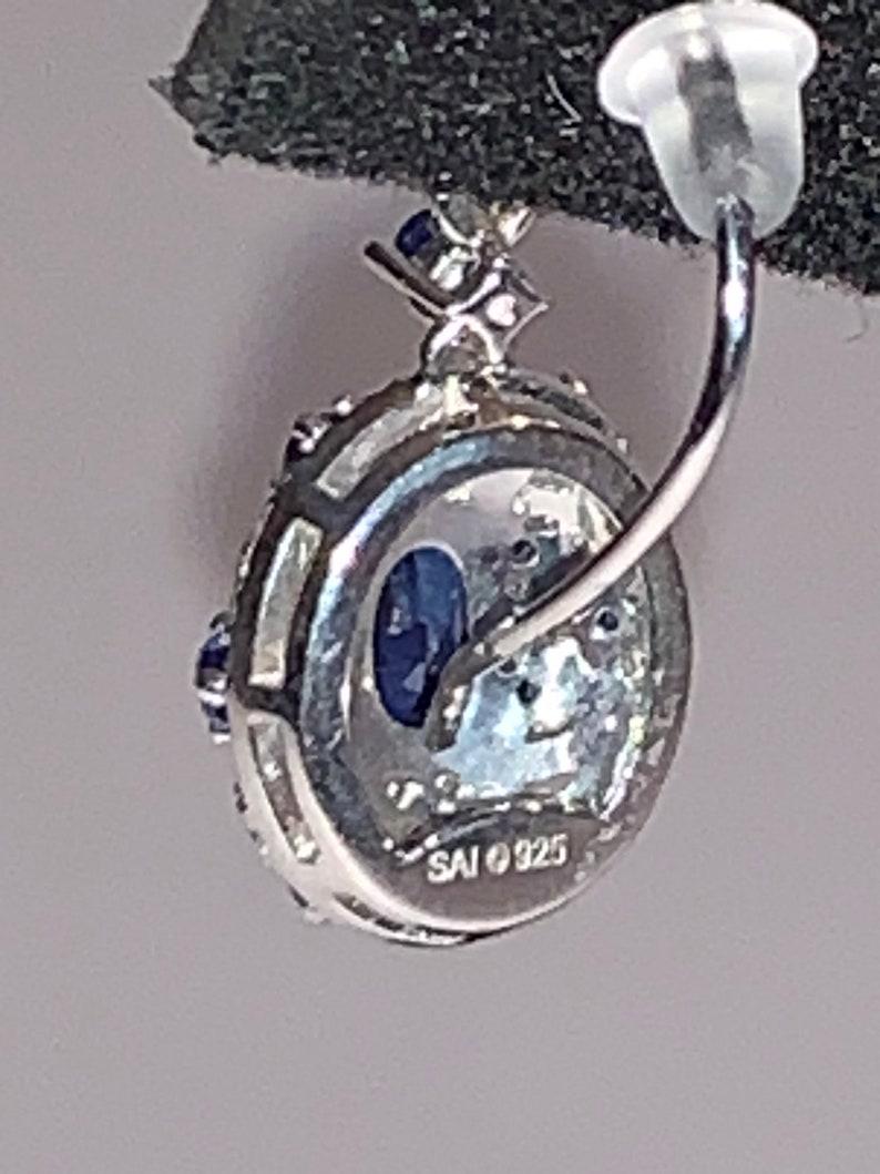 Blue Stone Earrings wCubic Zirconia set in 925 Sterling Beautiful Classic Look New- Retails 99 Dollars99.00