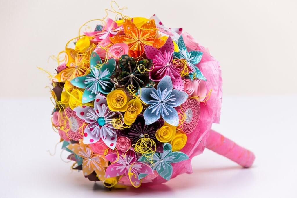 Papier mariage bouquet bouquet bouquet de mariée - carrousel de l'Alternative des couleurs-Origami accessoires de fleurs rose flowerbox demoiselle d'honneur fait à la main eco eko 0227e6