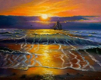 Ocean Sunset ** Original oil painting on canvas