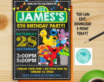 Sesame Street Birthday Invitation Party Instant Download