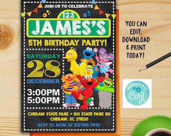 Sesame Street Birthday Invitation Party Instant Download