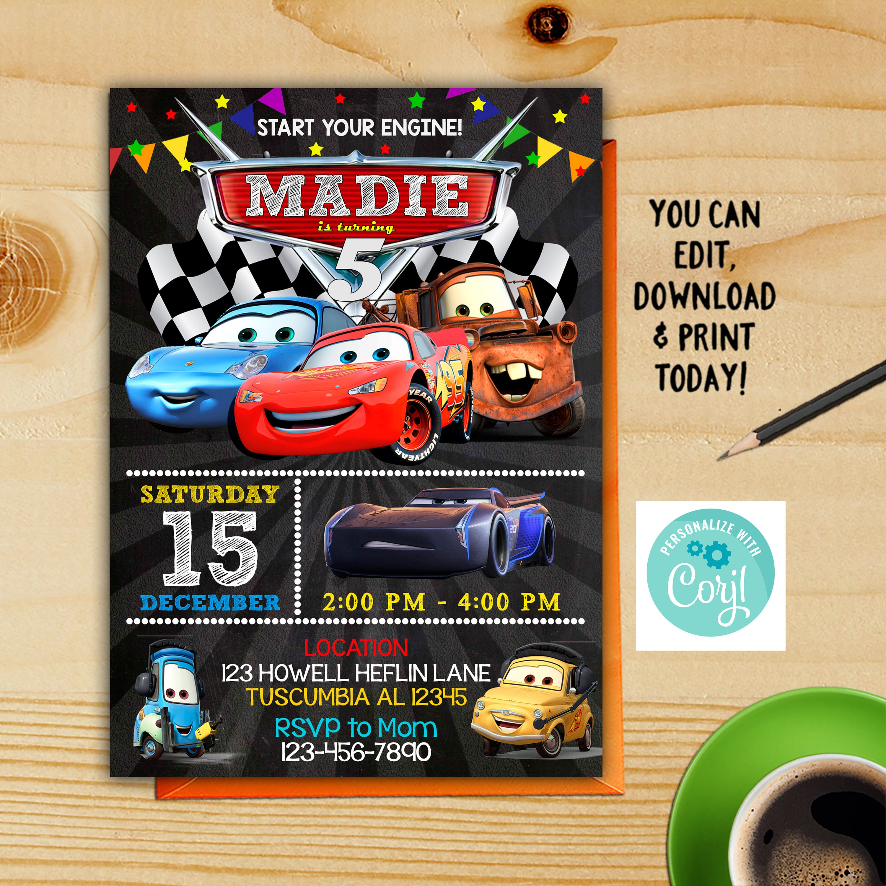 Cars 3 Invitation Disney Birthday