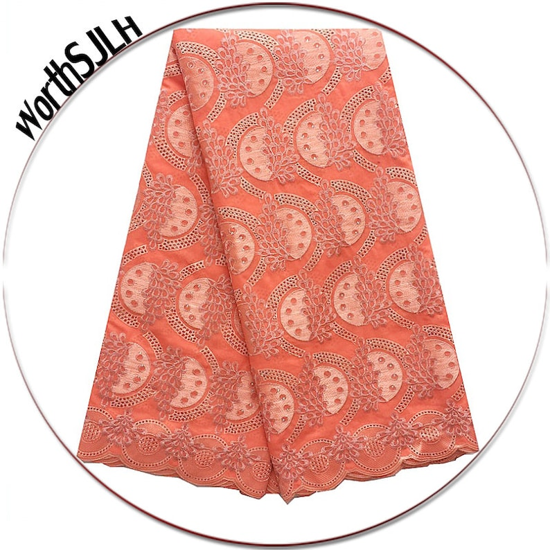 Music Memorabilia African Dry Lace Fabric High Quality White Swiss Voile Lace Fabric Embroidery Cotton Voile Lace For Wedding Swiss Lace Orange