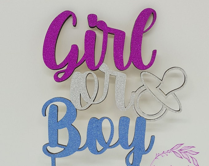 Boy or Girl Gender Reveal Party - Cake Topper