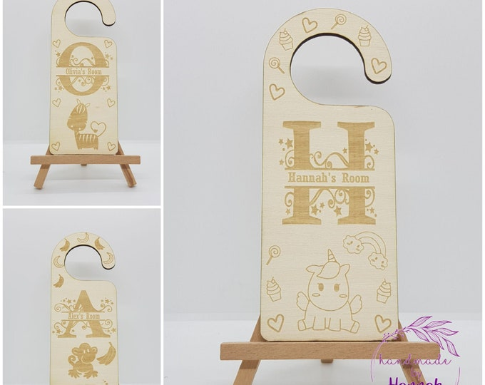 Childrens Animal Wooden Door Hangers