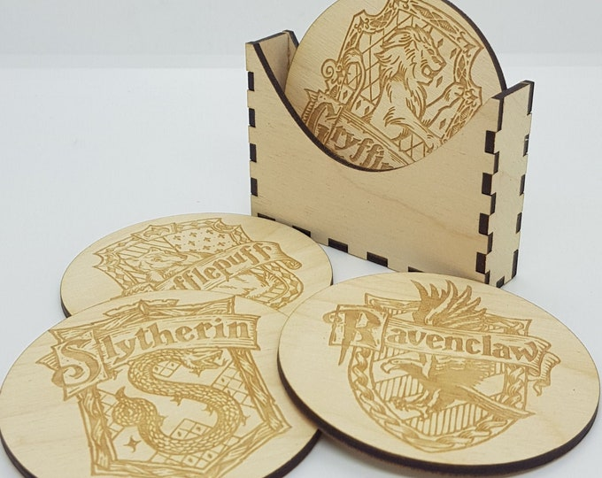 Harry Potter Coaster Pack - Gryffindor - Ravenclaw - Slytherin - Hufflepuff - Laserengraved Wooden coasters