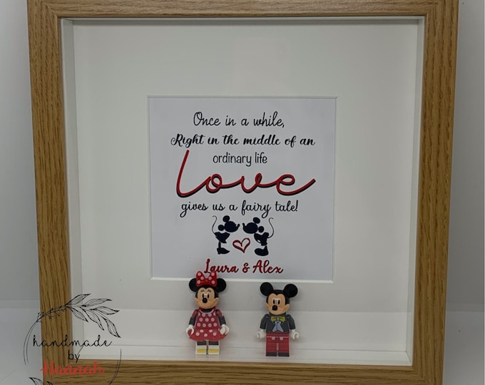 Minnie and mickey mouse inspired - love story box frame
