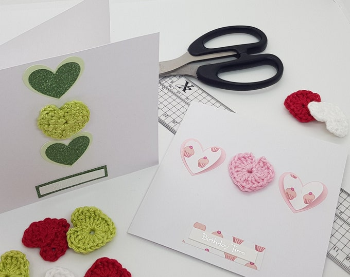 Crochet hearts - craft embellishments - scrapbooking - card making - wedding - papercrafts - craft supplies