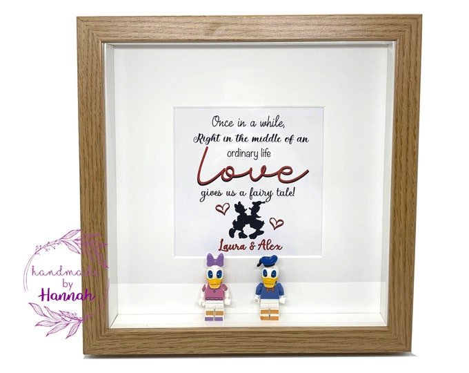 Donald and Daisy duck inspired - love story box frame