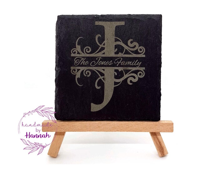 Personalized Slate Family Name Coasters