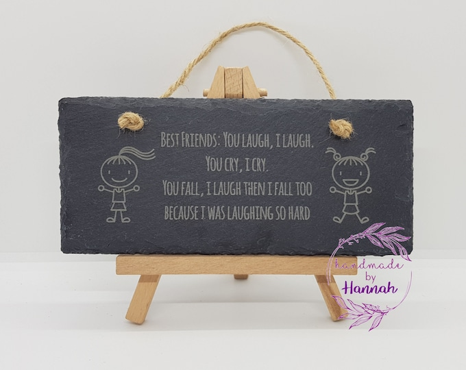 Best friends slate hanging sign