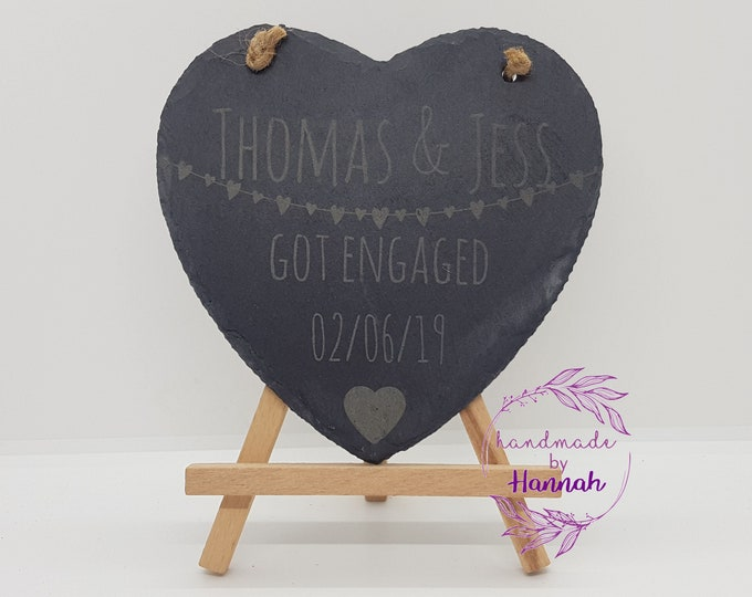 Engagement Announcement Slate Heart Sign
