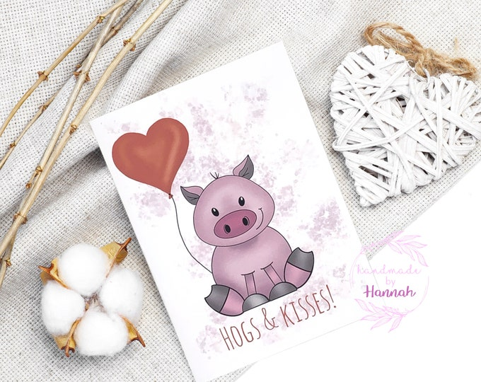 Greeting Cards - Handmade Cards - Hogs and Kisses - Pig Card - Love Card