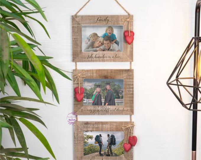 Family Quote Frame - Hanging Triple Photo frame - photo frames - laser engraved - personalised photo frames