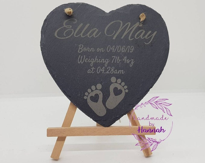 Baby Birth Announcement Slate Hanging Sign