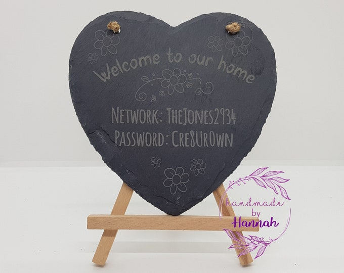 WiFi Password Slate Heart Sign