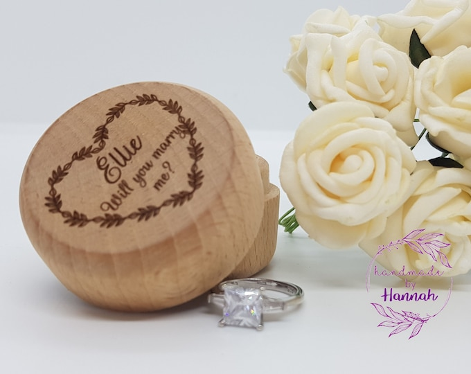 Personalised Wooden Engagement Ring Box
