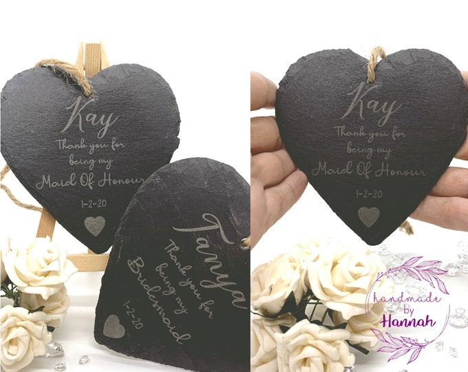 Engraved Slate Wedding Hearts