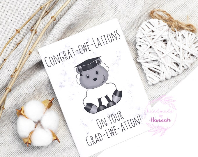 Greeting Cards - Handmade Cards - congratulations - Graduation Card - Sheep Card - Love Card - Handmade in Wales