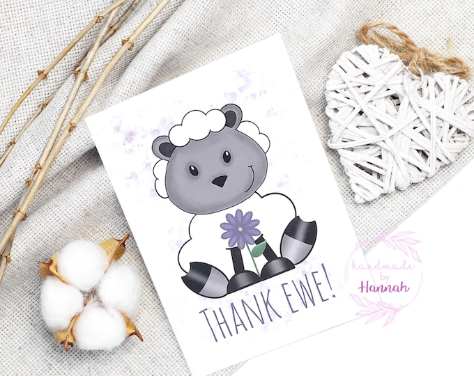 Greeting Cards - Handmade Cards - Thank You Card - Sheep Card - Love Card - Handmade in Wales