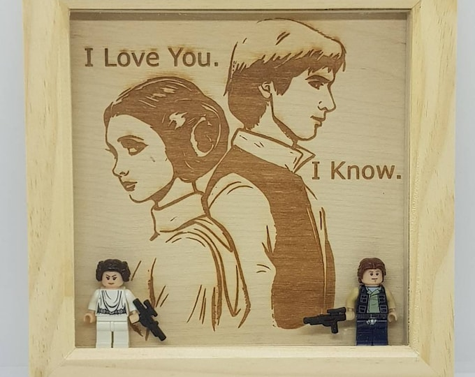 Star Wars Han Solo & Leia Character Box Frame