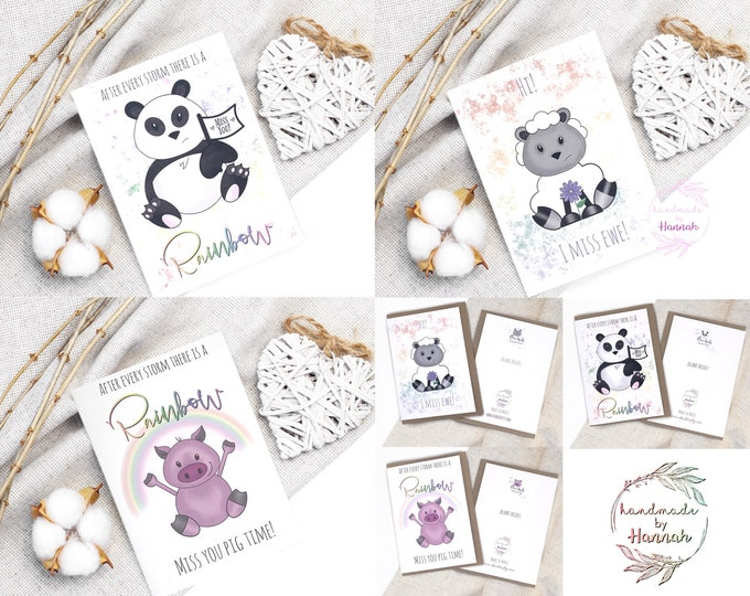 Missing You Cards - After Every Storm - Rainbow Cards - Handmade Card - Personalised Lockdown Gift Greetings Card