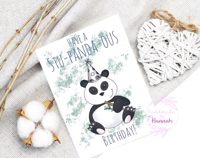 Greeting Cards - Handmade Cards - Birthday Card - Happy Birthday Card - Panda Card - Love Card - Handmade in Wales