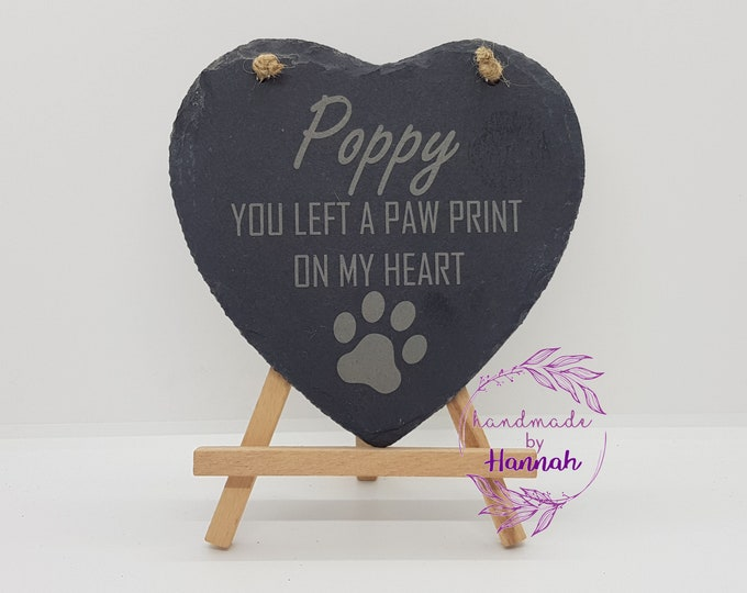 Pet Memorial Slate Heart Hanging Sign