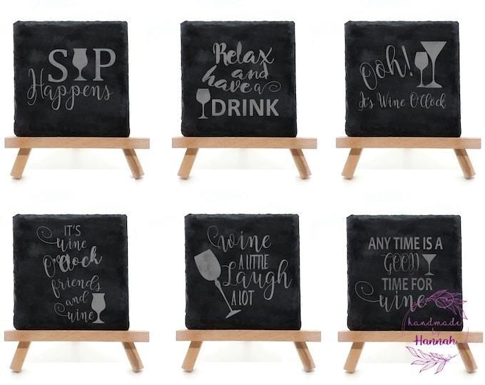 Wine Quotes Slate Coasters