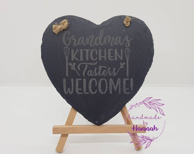 Grandmas Kitchen Tasters Welcome Slate Heart Hanging Sign