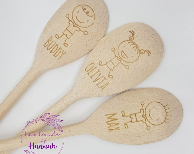 Personalised Childrens Engraved Wooden Spoon