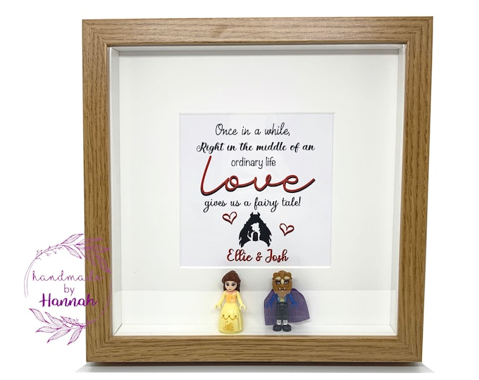 Disney Beauty and the beast inspired - love story box frame
