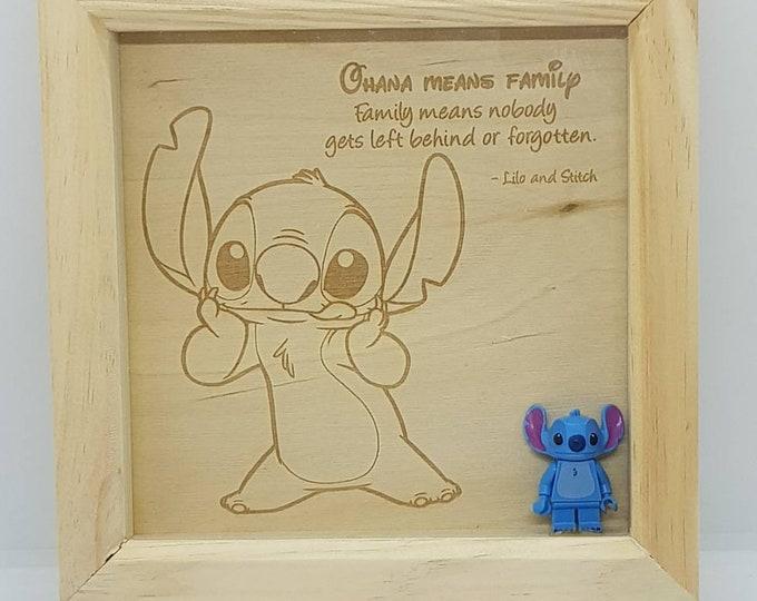 Lilo & Stitch 'Ohana' Character Box Frame