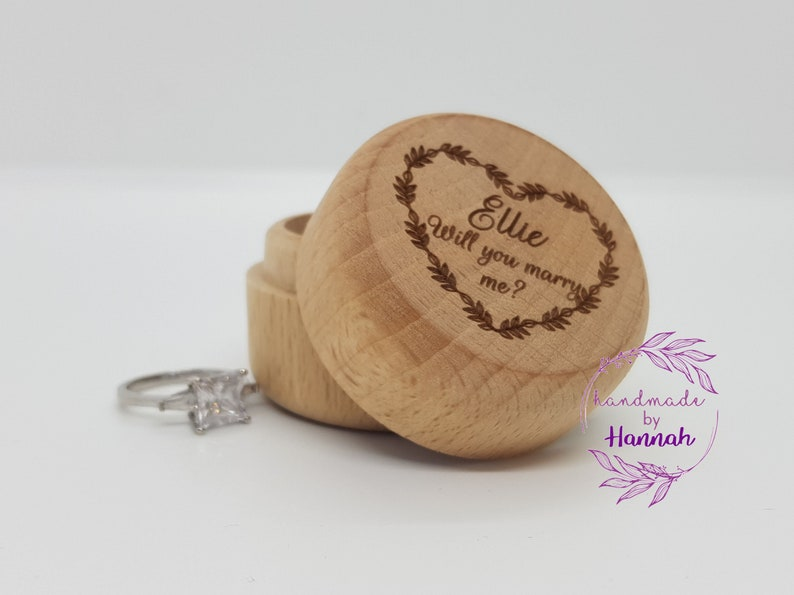 Personalised Wooden Ring Box Wedding Ring Box Custom Engraved Ring Box Design Your Own Engagement Ring Box