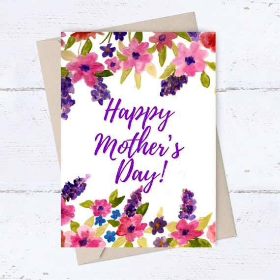 photograph about Happy Mothers Day Printable Card identify Delighted Moms Working day PRINTABLE card; Moms Working day Electronic card; flower border greeting card for mother; quick watercolor card; lovable easy card