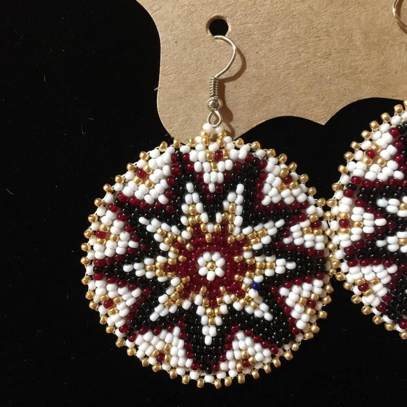 Native American Beaded Rosette Earrings