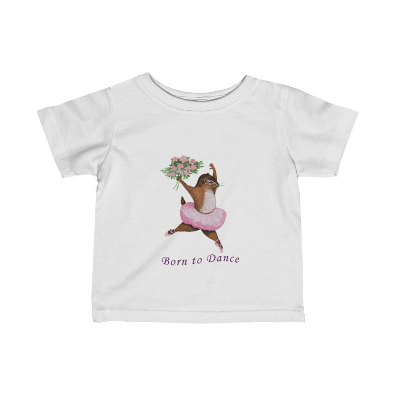 Infant T-Shirt with Hand-Painted Dancing Chipmunk Picture Book Art Eco-Friendly Cotton Children/'s Clothing