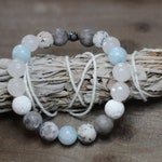 Aquamarine Moonstone Jasper Essential Oil Diffuser Bracelet | Stackable Bracelet | Aromatherapy Bracelet