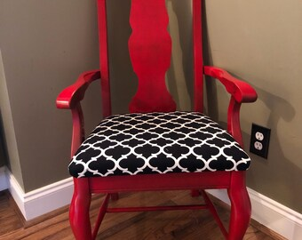 Custom Painted Chair, Vintage Distressed Chair, Red Chair, Mid Century  Designer Accent Chair, Boho Vintage, Bohemian Accent Furniture,