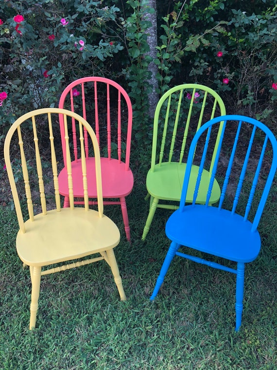 Set of 4 chairs, painted chairs, dining chairs, kitchen chairs, vintage  chairs, mismatched chairs, colorful chairs, side chairs, chairs