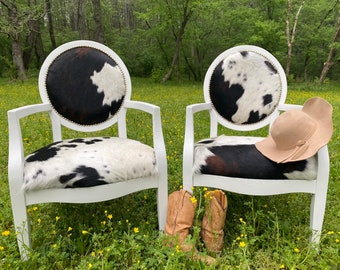 cowhide dining chairs, authentic cowhide, cowhide upholstered chairs, distressed furniture,refinished furniture
