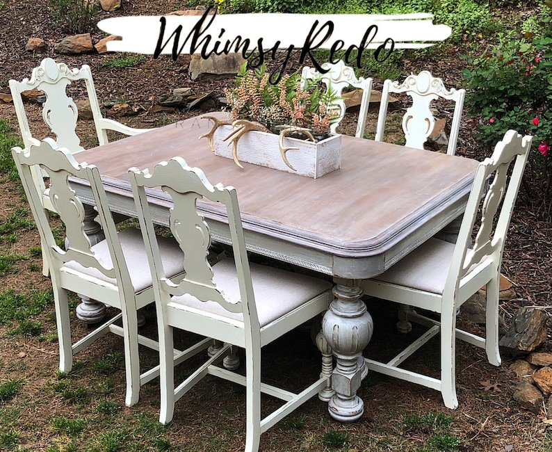 Sold Antique Dining Table 1920 S Jacobean Revival Table With 6 Chairs High End Dining