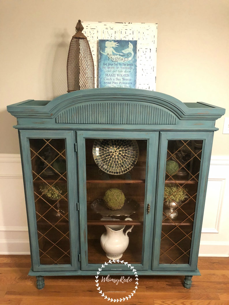 SOLD!! Teal Painted Entryway Cabinet, Display Case, Cottage Style Hutch,  Farmhouse China Cabinet, Boho Style Cabinet
