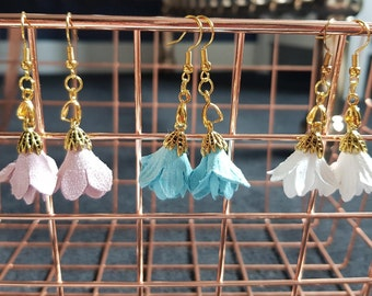 Suede Petal Flower Earrings
