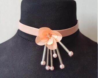 Dusky Pink Flower Choker